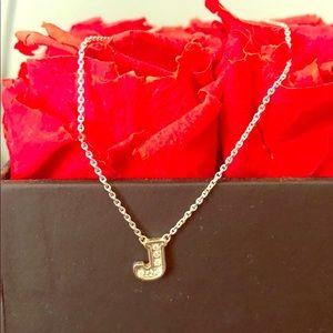 Jewelry - Diamond J pendant on a white 14k gold chain.
